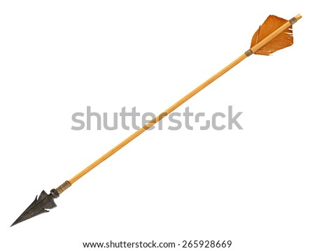 Antique old wooden arrow isolated on a white background. The army of Genghis Khan #265928669