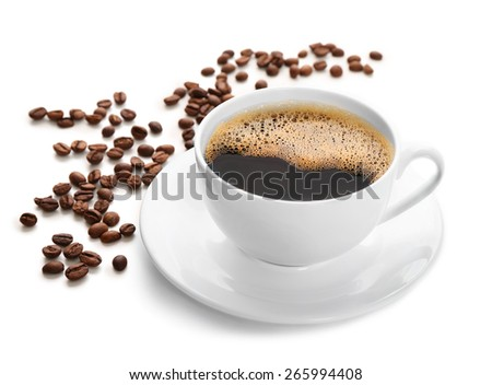 Cup of coffee isolated on white #265994408