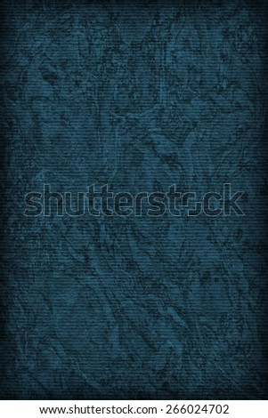 Photograph of Recycle Striped Navy Blue Pastel Paper, bleached, mottled, coarse grain, vignette grunge texture sample. #266024702