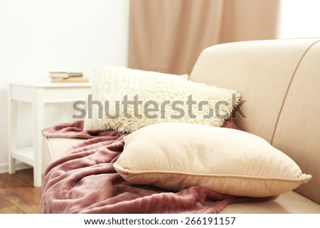 Interior design with pillows on sofa, closeup #266191157
