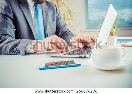 Laptop, closeup, table. #266676296