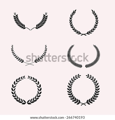 Set of Wreaths and branches. Vector illustration. Editable for your design Royalty-Free Stock Photo #266740193