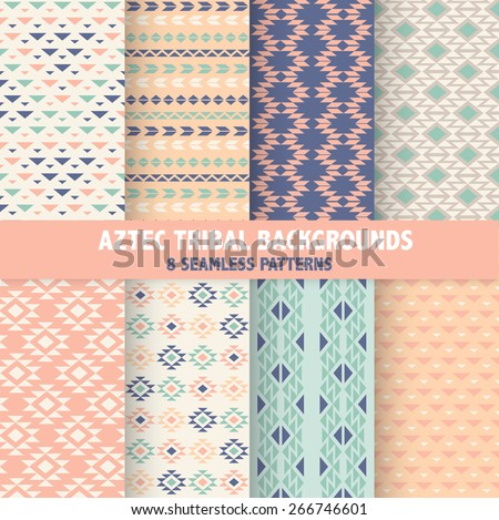 Vintage Aztec Tribal Backgrounds - 8 Seamless Patterns - in vector