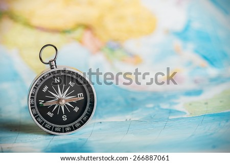compass on the tourist map. Focus on the compass needle #266887061