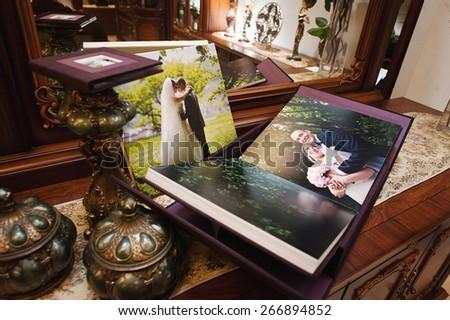 plum velvet wedding photo book album with picture