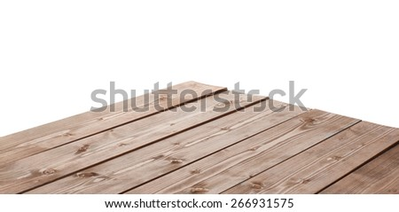 Dark brown paint coated wooden pine boards as a copyspace background composition isolated over the white background #266931575