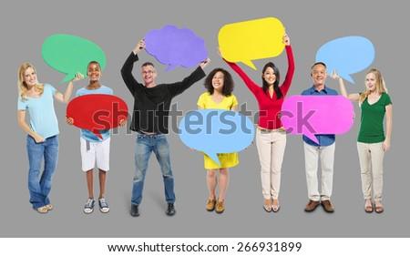Group Friends Opinion Speech Bubbles Expression Concept #266931899