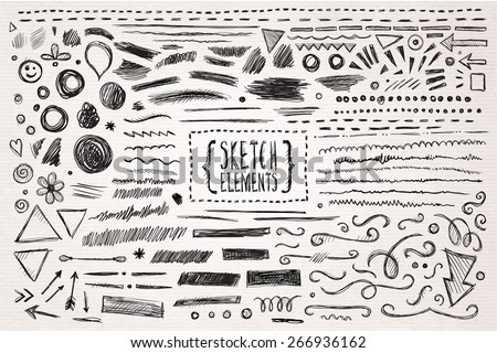 Hand drawn sketch hand drawn elements. Vector illustration. Royalty-Free Stock Photo #266936162