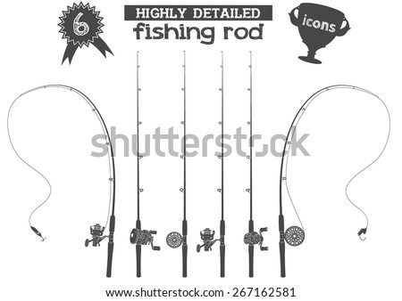 Six highly detailed fishing rod icons with reels and two baits