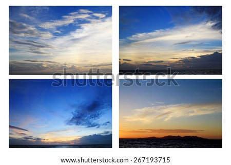 set of Fantastic soft white clouds against blue sky #267193715