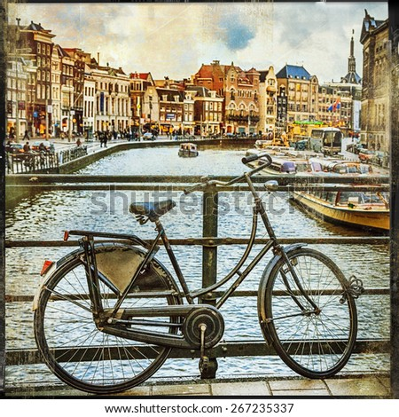 traditional Holland- canals and bikes, vintage picture