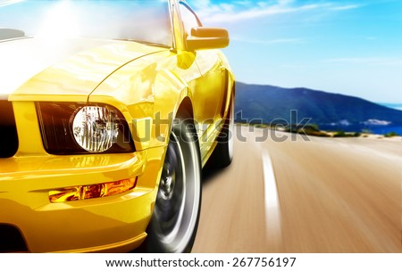 Yellow sport car Royalty-Free Stock Photo #267756197