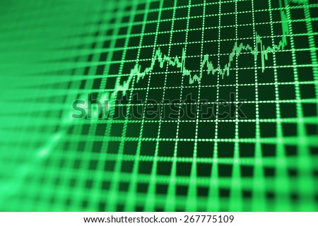 Stock exchange chart graph. Finance business background. Abstract stock martet diagram candlebars trade. Green color.