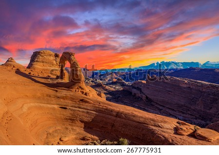 Beautiful Sunset Image taken at Arches National Park in Utah Royalty-Free Stock Photo #267775931