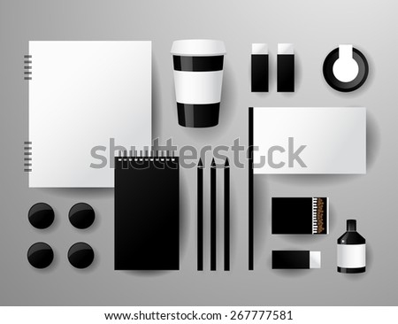 Abstract  business set. Corporate identity templates, notebook, pencil, tape, paper cup #267777581