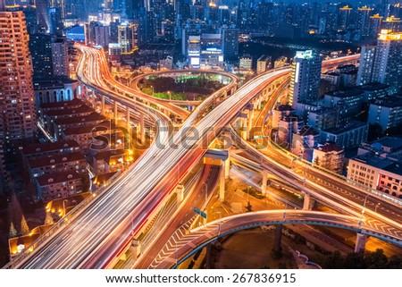city interchange closeup at night , beautiful transport infrastructure background Royalty-Free Stock Photo #267836915