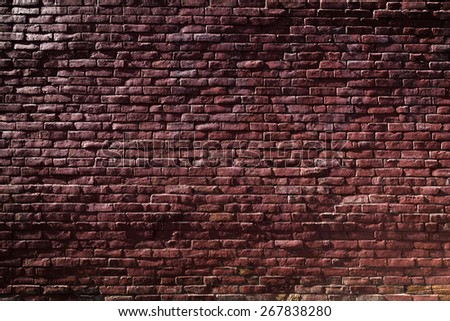 Old Red Brick Wall with Sunlight and Shadows #267838280