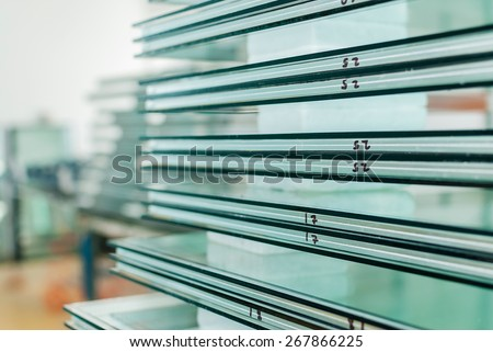 Sheets of Factory manufacturing tempered clear float glass panels cut to size #267866225