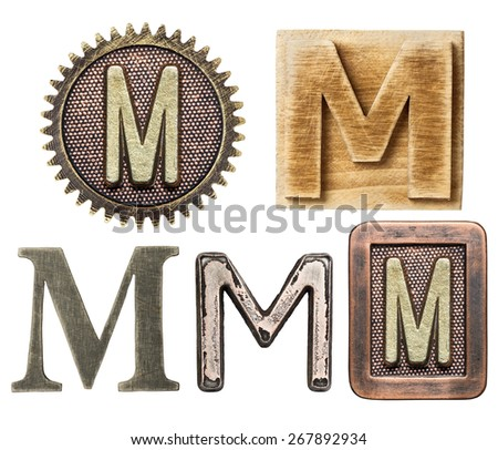 Alphabet made of wood and metal. Letter M