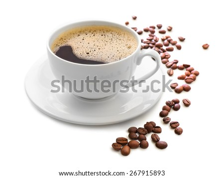Cup of coffee isolated on white #267915893