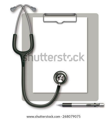 Illustrations of the clipboard and stethoscope. /There is copy space on the paper.