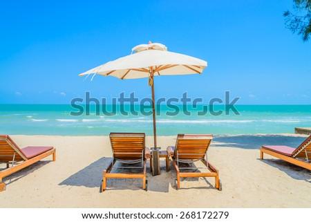 Bed beach on tropical beach #268172279