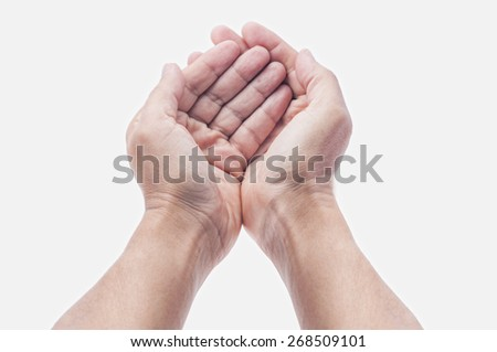 open hands with palm up isolated on white #268509101