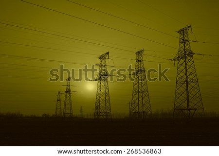 electric tower in the evening sky, power transmission facilities #268536863