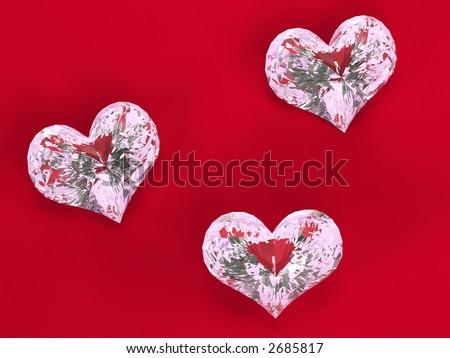 Three diamonds - hearts over red velvet #2685817
