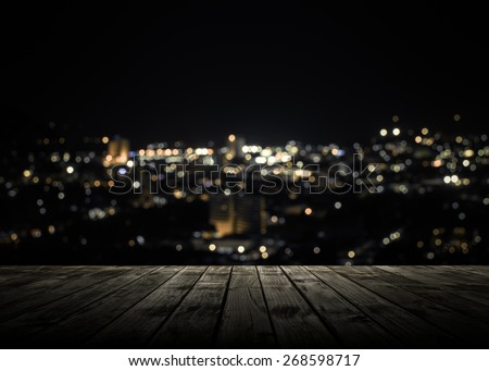 View from wooden plank above phuket town at night #268598717