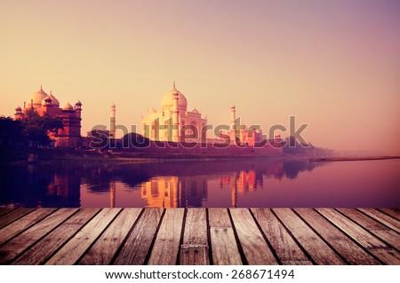 Taj Mahal India Seven Wonders Travel Destination Concept Royalty-Free Stock Photo #268671494