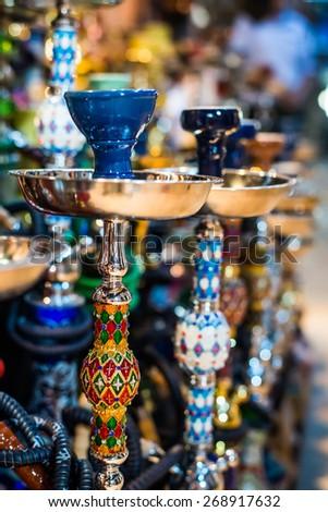 traditional arabic shisha pipes hookah Royalty-Free Stock Photo #268917632