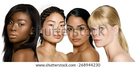 Ethnic diversity group of young women: African, Asian, Indian and Caucasian. Royalty-Free Stock Photo #268944230