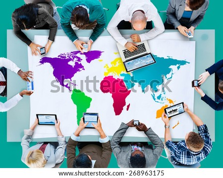 World Global Cartography Globalization Earth International Concept #268963175