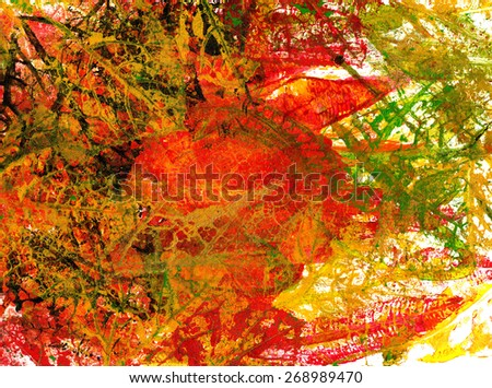 Art abstract Background . Handmade Mono-print  on paper. #268989470