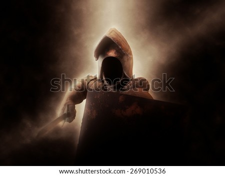 Dramatically Illuminated Faceless Knight in Suit of Armor with Shield and Sword #269010536