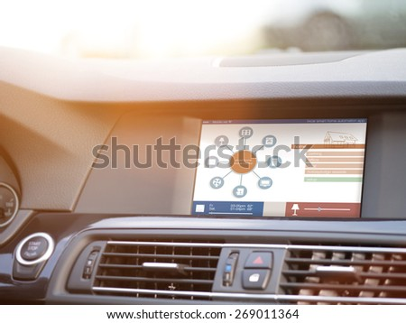 smart house, home automation, device illustration with app icons. Man is using his smart home automation car app #269011364