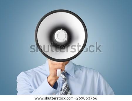 Megaphone, Using Voice, Advertisement. Royalty-Free Stock Photo #269053766