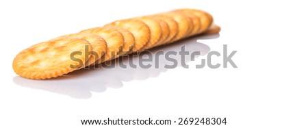 Round salted cracker over white background #269248304