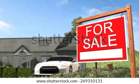 Home For Sale Real Estate Sign in Front of Beautiful New House #269310131