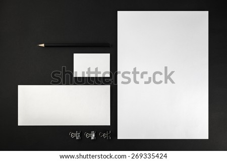 Blank stationery and corporate identity template on dark background.  For design presentations and portfolios. Top view.  #269335424