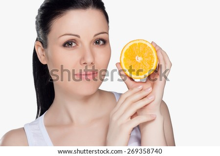 Beautiful close-up portrait of young woman with oranges. Healthy food concept. Skin care and beauty. Vitamins and minerals. #269358740