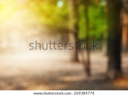 Abstract blurred nature background with bright sunlight #269384774