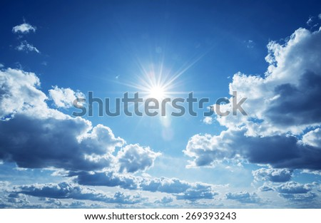 Blue sky with clouds and sun. #269393243