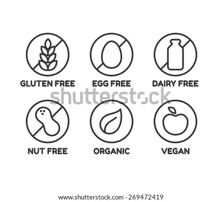 Set of icons illustrating absence of common food allergens (gluten, dairy, egg, nuts) plus vegan and organic signs.