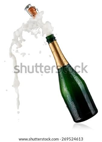 Bottle of champagne pop #269524613