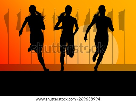 Woman runner female sprinter group vector background concept #269638994