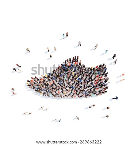 Large group of people in the form of shoes. Isolated, white background.