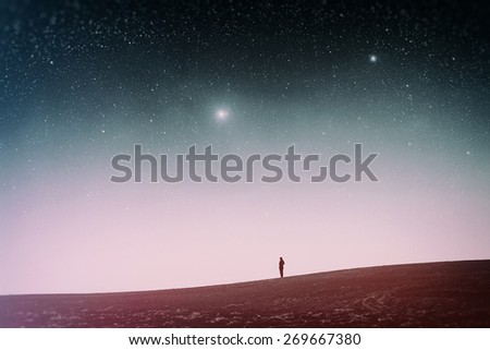 field at night. Elements of this image furnished by NASA. Photo instagram style. vintage retro