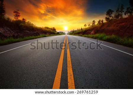 beautiful sun rising sky with asphalt highways road in rural scene use land transport and traveling background,backdrop Royalty-Free Stock Photo #269761259